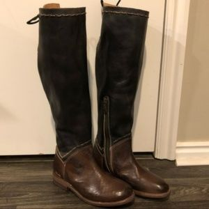 NWT Bed Stu Black/Textured Brown Boots
